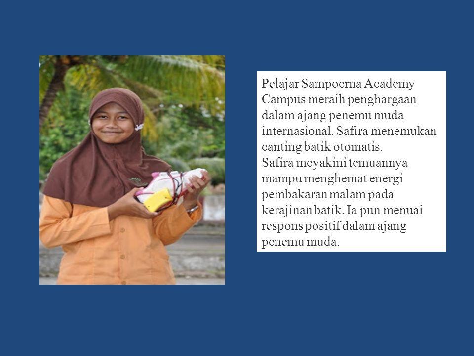 Pelajar Sampoerna Academy Campus meraih penghargaan dalam ajang penemu muda internasional.