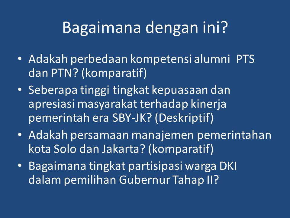 Bagaimana dengan ini.Adakah perbedaan kompetensi alumni PTS dan PTN.