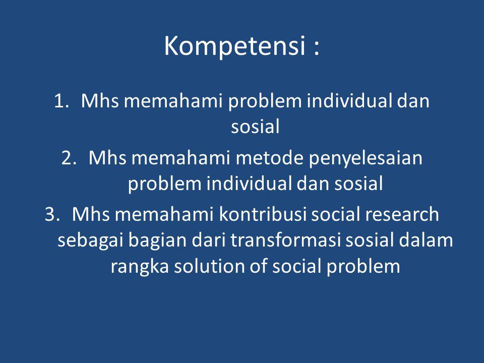 Kompetensi : 1.Mhs memahami problem individual dan sosial 2.Mhs memahami metode penyelesaian problem individual dan sosial 3.Mhs memahami kontribusi social research sebagai bagian dari transformasi sosial dalam rangka solution of social problem