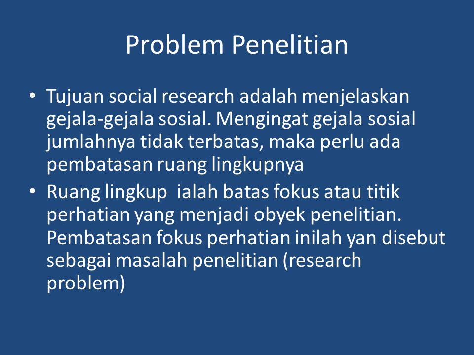 Problem Penelitian Tujuan social research adalah menjelaskan gejala-gejala sosial.