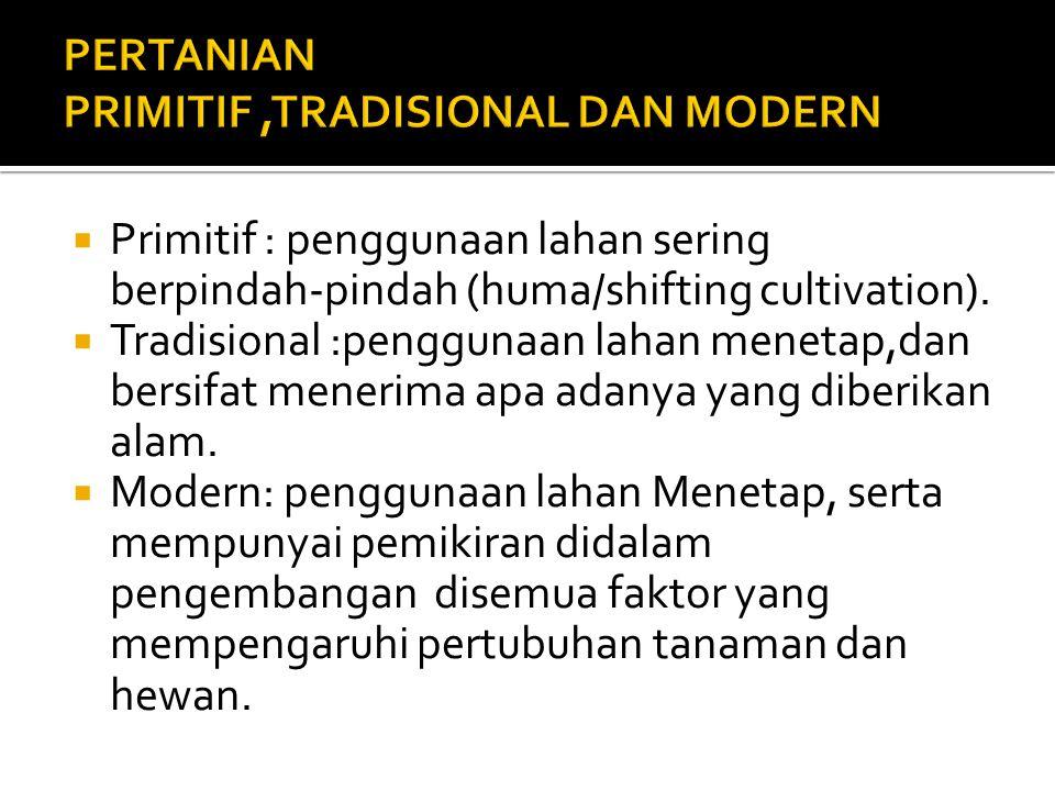  Primitif : penggunaan lahan sering berpindah-pindah (huma/shifting cultivation).  Tradisional :penggunaan lahan menetap,dan bersifat menerima apa a