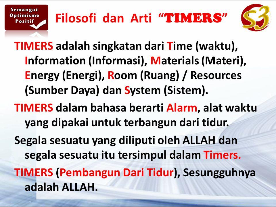 Filosofi dan Arti TIMERS TIMERS adalah singkatan dari Time (waktu), Information (Informasi), Materials (Materi), Energy (Energi), Room (Ruang) / Resources (Sumber Daya) dan System (Sistem).
