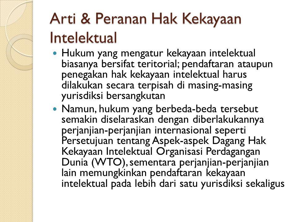 Arti & Peranan Hak Kekayaan Intelektual Hukum yang mengatur kekayaan intelektual biasanya bersifat teritorial; pendaftaran ataupun penegakan hak kekay