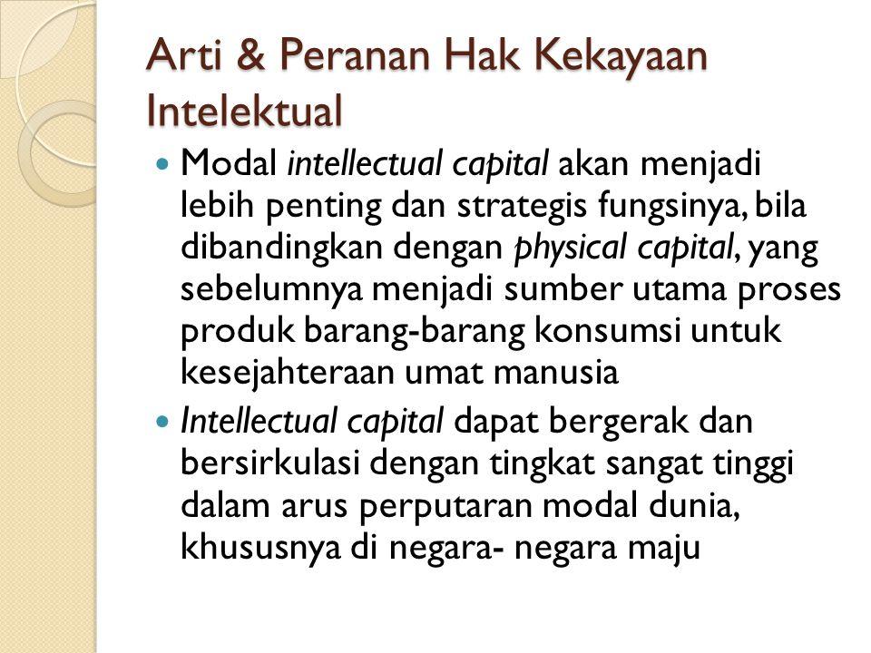 Arti & Peranan Hak Kekayaan Intelektual Modal intellectual capital akan menjadi lebih penting dan strategis fungsinya, bila dibandingkan dengan physic