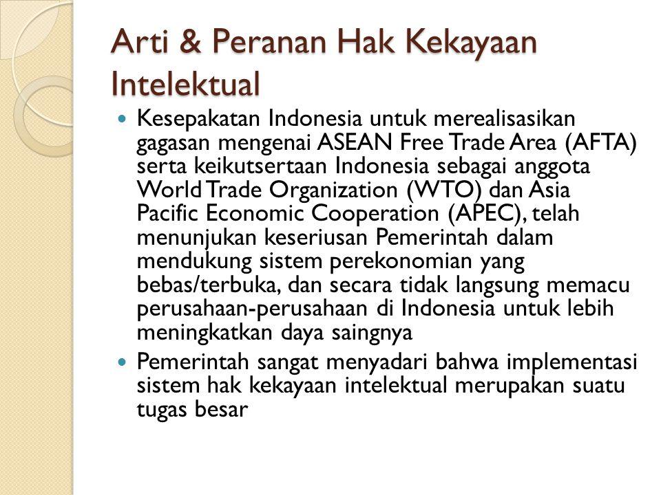 Arti & Peranan Hak Kekayaan Intelektual Kesepakatan Indonesia untuk merealisasikan gagasan mengenai ASEAN Free Trade Area (AFTA) serta keikutsertaan I