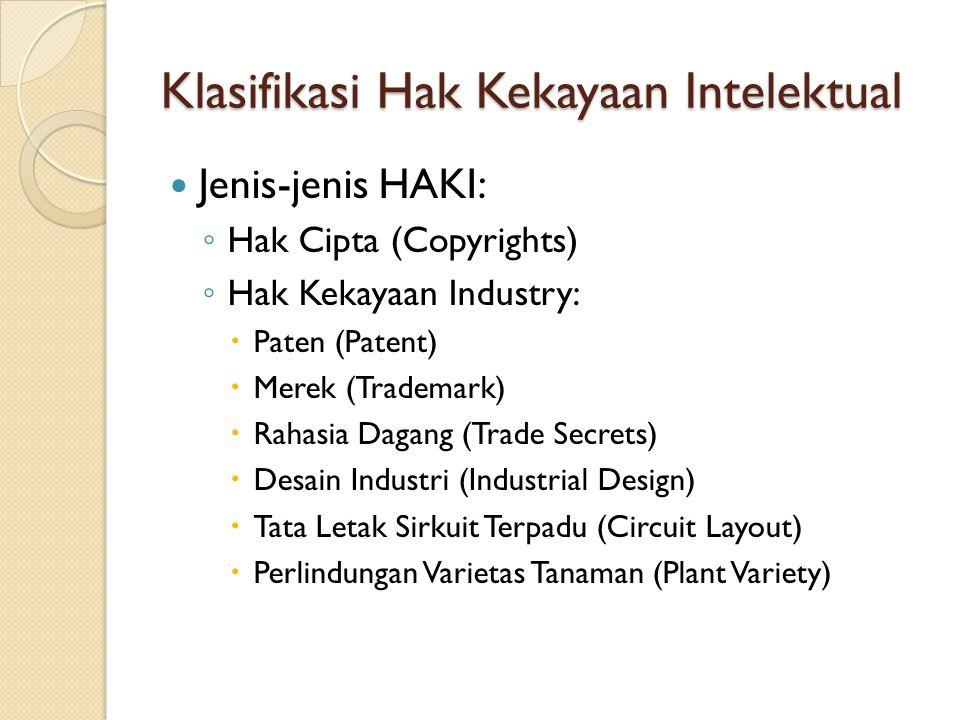 Klasifikasi Hak Kekayaan Intelektual Jenis-jenis HAKI: ◦ Hak Cipta (Copyrights) ◦ Hak Kekayaan Industry:  Paten (Patent)  Merek (Trademark)  Rahasi