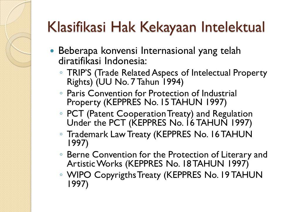 Klasifikasi Hak Kekayaan Intelektual Beberapa konvensi Internasional yang telah diratifikasi Indonesia: ◦ TRIP'S (Trade Related Aspecs of Intelectual