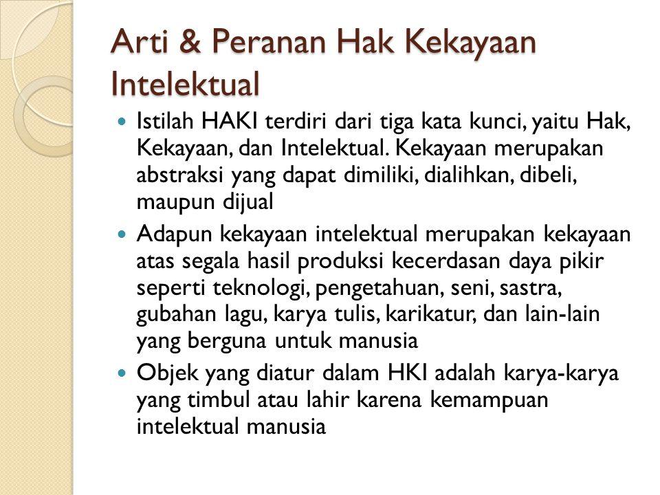 Arti & Peranan Hak Kekayaan Intelektual Istilah HAKI terdiri dari tiga kata kunci, yaitu Hak, Kekayaan, dan Intelektual. Kekayaan merupakan abstraksi