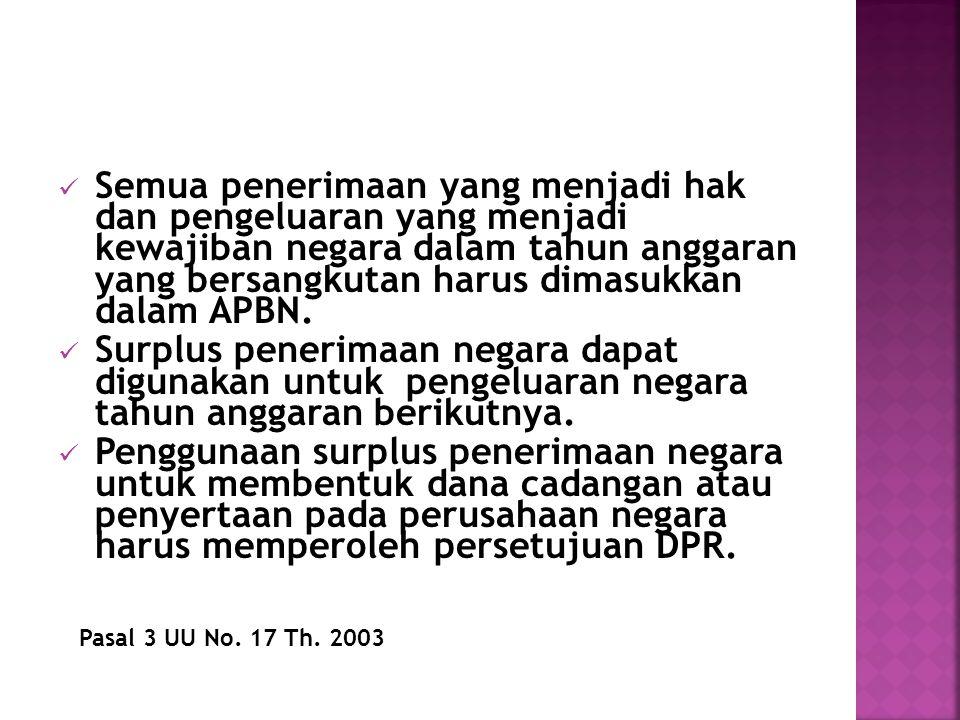 Semua penerimaan yang menjadi hak dan pengeluaran yang menjadi kewajiban negara dalam tahun anggaran yang bersangkutan harus dimasukkan dalam APBN. Su