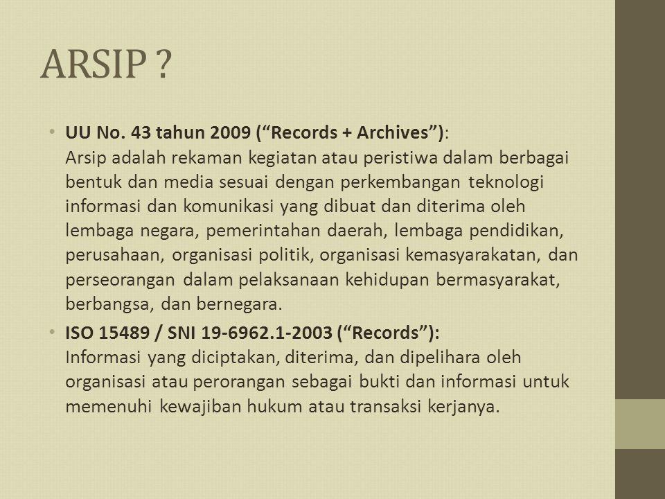 "ARSIP ? UU No. 43 tahun 2009 (""Records + Archives""): Arsip adalah rekaman kegiatan atau peristiwa dalam berbagai bentuk dan media sesuai dengan perkem"