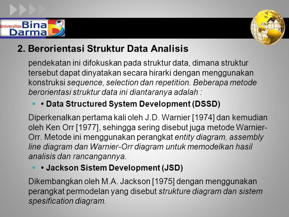 LOGO 2. Berorientasi Struktur Data Analisis pendekatan ini difokuskan pada struktur data, dimana struktur tersebut dapat dinyatakan secara hirarki den