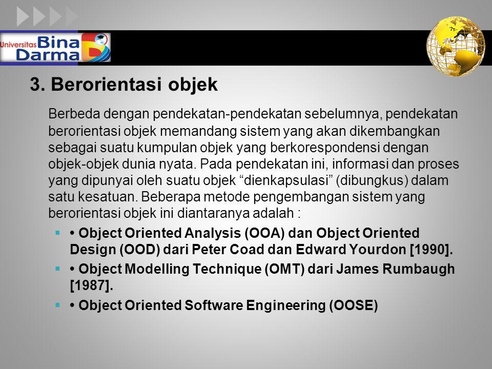 LOGO 3. Berorientasi objek Berbeda dengan pendekatan-pendekatan sebelumnya, pendekatan berorientasi objek memandang sistem yang akan dikembangkan seba