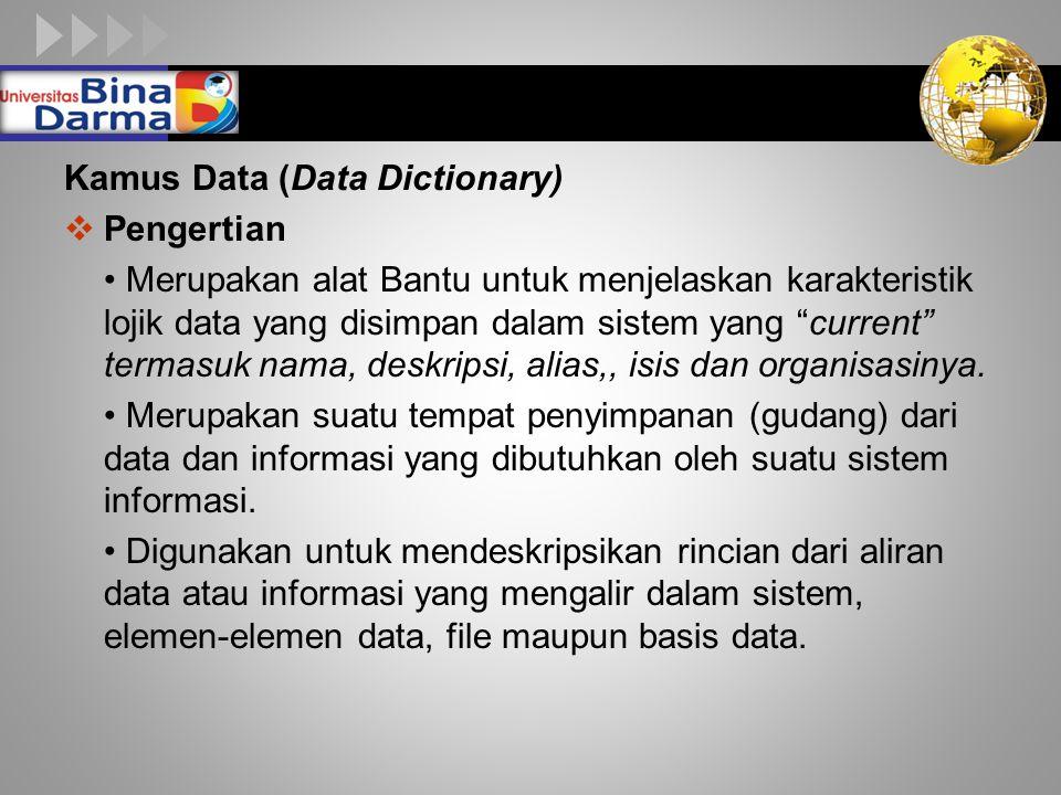 """LOGO Kamus Data (Data Dictionary)  Pengertian Merupakan alat Bantu untuk menjelaskan karakteristik lojik data yang disimpan dalam sistem yang """"curren"""