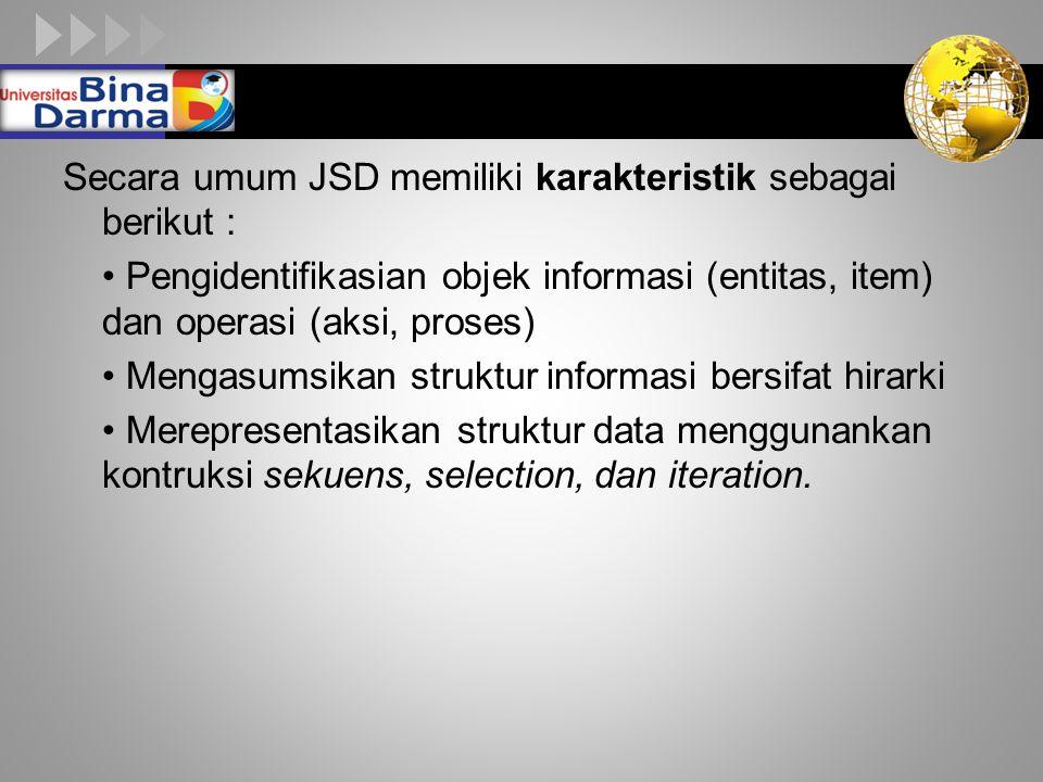 LOGO Secara umum JSD memiliki karakteristik sebagai berikut : Pengidentifikasian objek informasi (entitas, item) dan operasi (aksi, proses) Mengasumsi