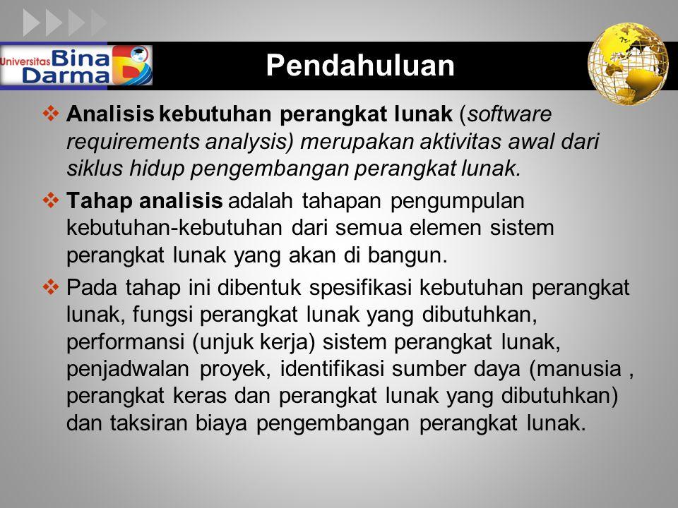 LOGO Pendahuluan  Analisis kebutuhan perangkat lunak (software requirements analysis) merupakan aktivitas awal dari siklus hidup pengembangan perangk