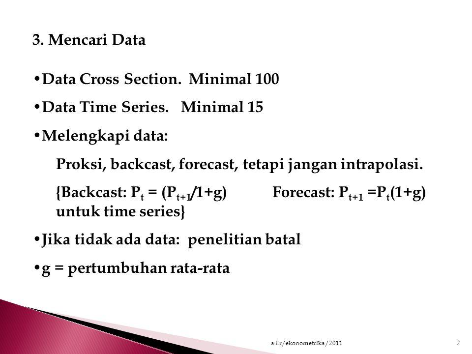 3.Mencari Data Data Cross Section. Minimal 100 Data Time Series.