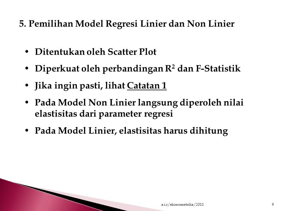 4. Membuat Scatter Plot dan Memilih Model Regresi DV IV DV IV (1) (2) Gambar (1): Lebih tepat menggunakan model regresi non-linier Gambar (2): Lebih t