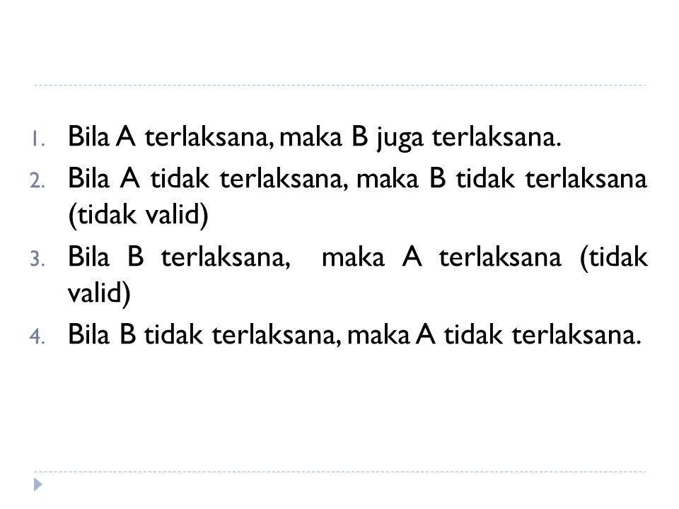 1.Bila A terlaksana, maka B juga terlaksana. 2.