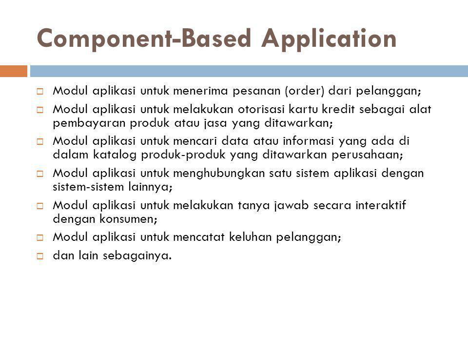Component-Based Application  Modul aplikasi untuk menerima pesanan (order) dari pelanggan;  Modul aplikasi untuk melakukan otorisasi kartu kredit se