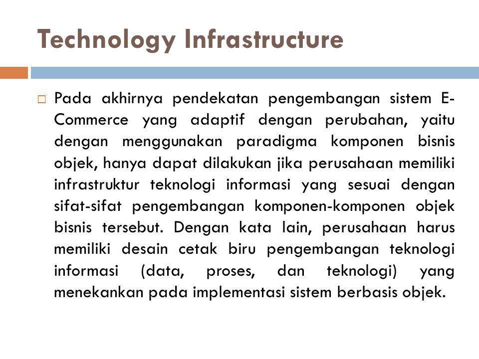 Technology Infrastructure  Pada akhirnya pendekatan pengembangan sistem E- Commerce yang adaptif dengan perubahan, yaitu dengan menggunakan paradigma