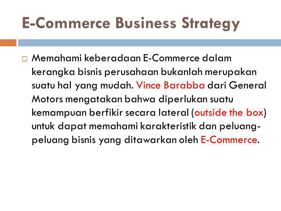 E-Commerce Business Strategy  Memahami keberadaan E-Commerce dalam kerangka bisnis perusahaan bukanlah merupakan suatu hal yang mudah. Vince Barabba