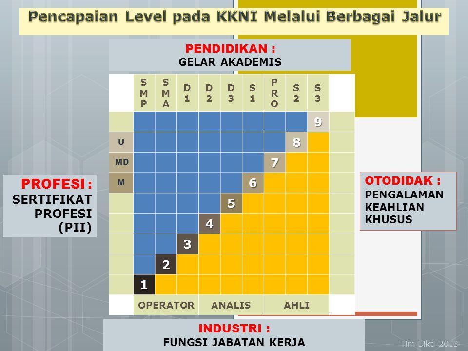 UMICH, 2014  KKNI terdiri dari 9 (sembilan) jenjang kualifikasi, dimulai dari Kualifikasi 1 sebagai kualifikasi terendah dan Kualifikasi – 9 sebagai