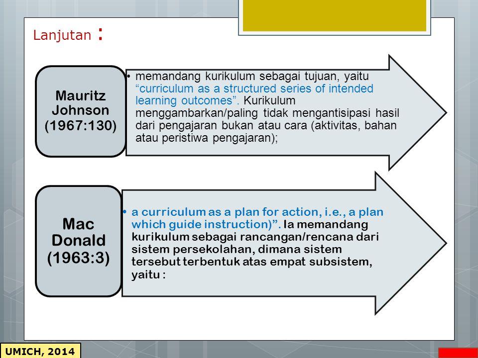 UMICH, 2014 Lanjutan : memandang kurikulum sebagai tujuan, yaitu curriculum as a structured series of intended learning outcomes .