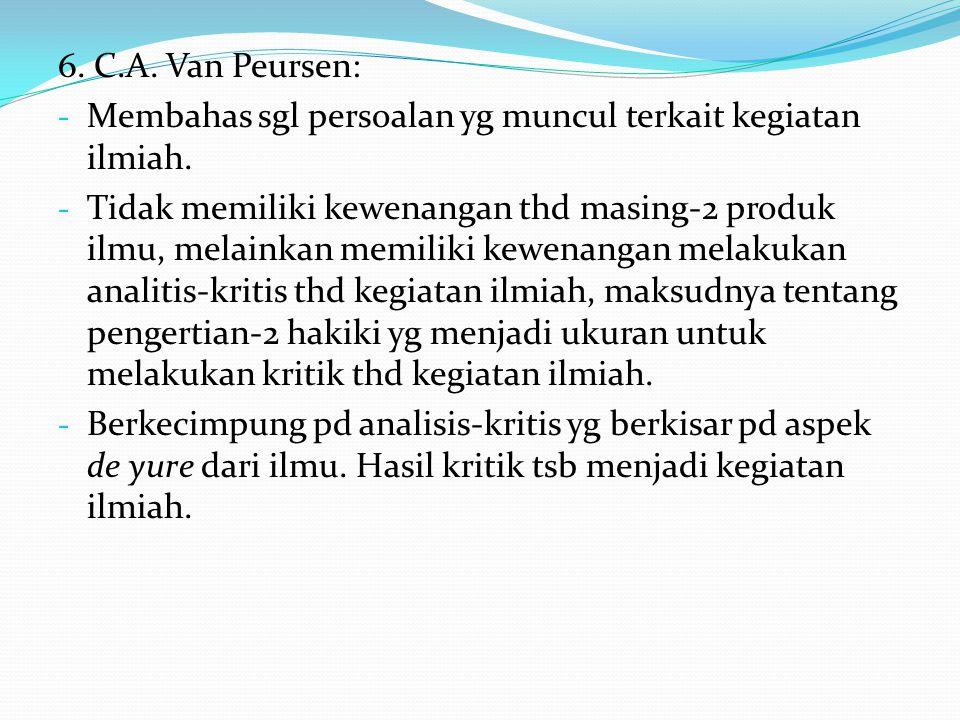 6. C.A. Van Peursen: - Membahas sgl persoalan yg muncul terkait kegiatan ilmiah. - Tidak memiliki kewenangan thd masing-2 produk ilmu, melainkan memil