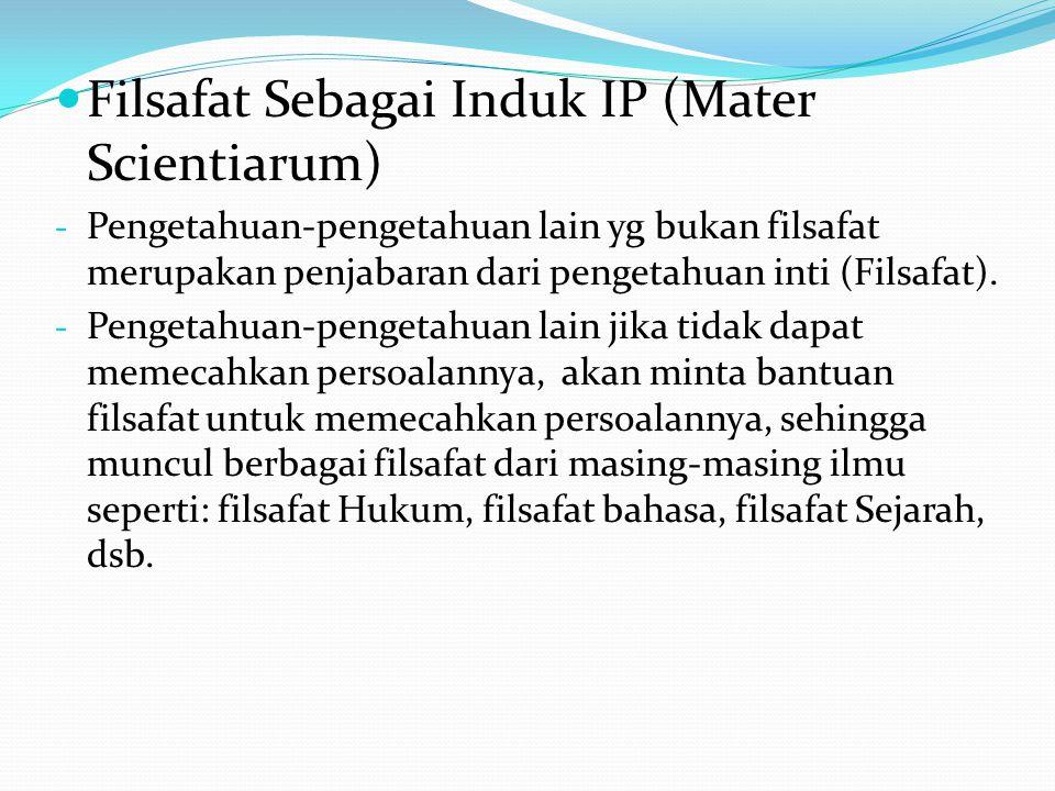Filsafat Sebagai Induk IP (Mater Scientiarum) - Pengetahuan-pengetahuan lain yg bukan filsafat merupakan penjabaran dari pengetahuan inti (Filsafat).