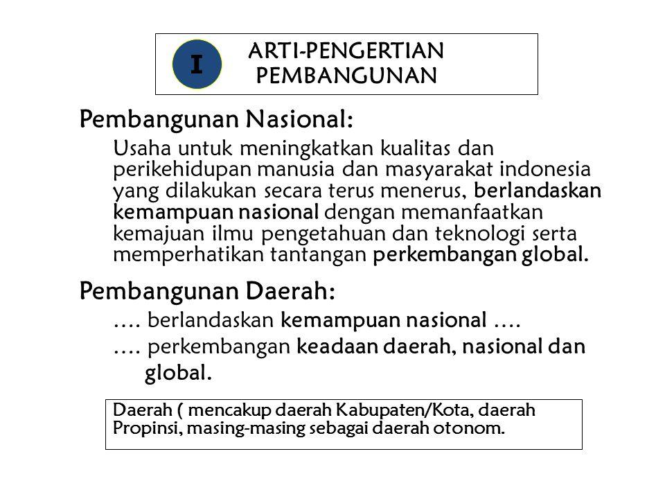 ARTI-PENGERTIAN PEMBANGUNAN Pembangunan Nasional: Usaha untuk meningkatkan kualitas dan perikehidupan manusia dan masyarakat indonesia yang dilakukan