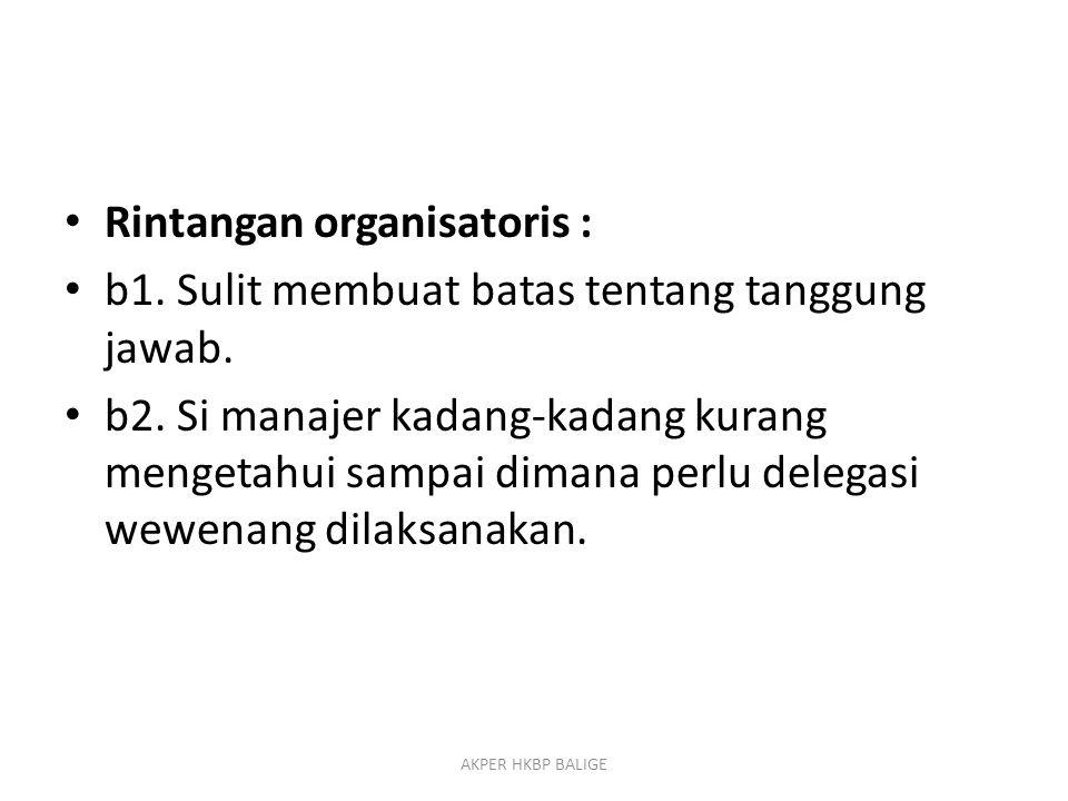 Rintangan organisatoris : b1. Sulit membuat batas tentang tanggung jawab. b2. Si manajer kadang-kadang kurang mengetahui sampai dimana perlu delegasi