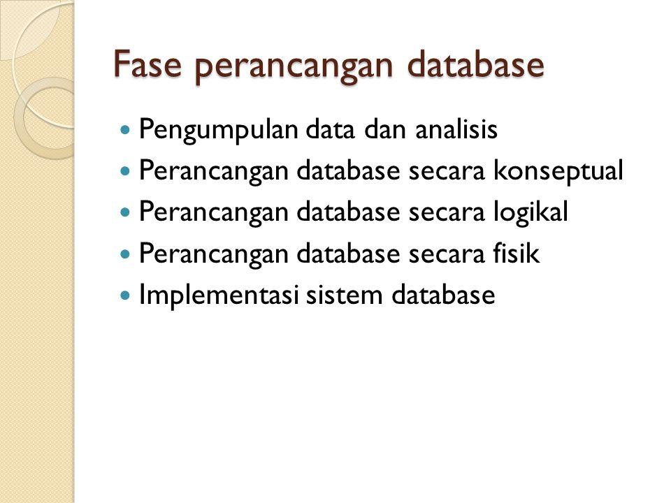 Fase perancangan database Pengumpulan data dan analisis Perancangan database secara konseptual Perancangan database secara logikal Perancangan databas