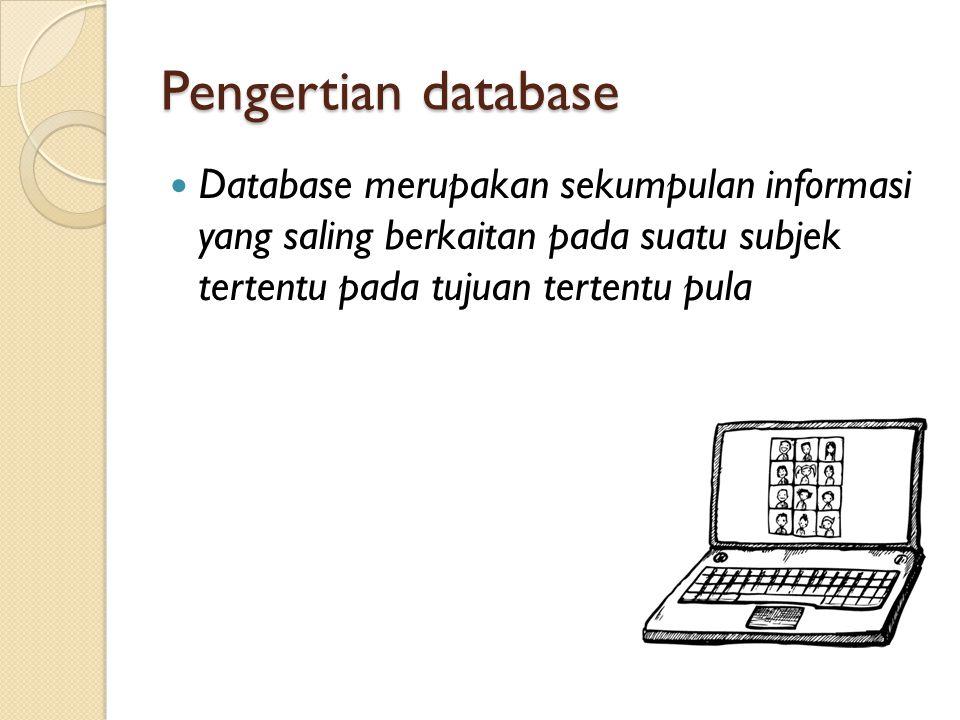 PENGERTIAN DATABASE Susunan record data operasional lengkap dari suatu organisasi atau perusahaan, yang diorganisir dan disimpan secara terintegrasi dengan menggunakan metode tertentu dalam komputer, sehingga mampu memenuhi informasi yang optimal yang dibutuhkan oleh para pengguna.