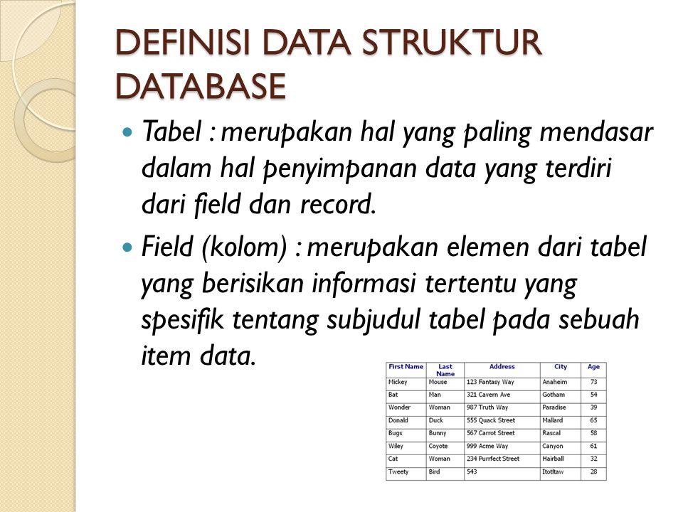DEFINISI DATA STRUKTUR DATABASE Tabel : merupakan hal yang paling mendasar dalam hal penyimpanan data yang terdiri dari field dan record. Field (kolom