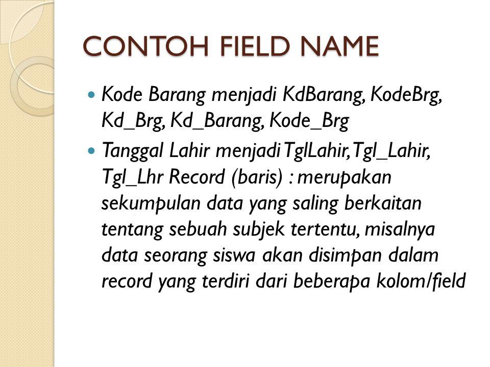 CONTOH FIELD NAME Kode Barang menjadi KdBarang, KodeBrg, Kd_Brg, Kd_Barang, Kode_Brg Tanggal Lahir menjadi TglLahir, Tgl_Lahir, Tgl_Lhr Record (baris)