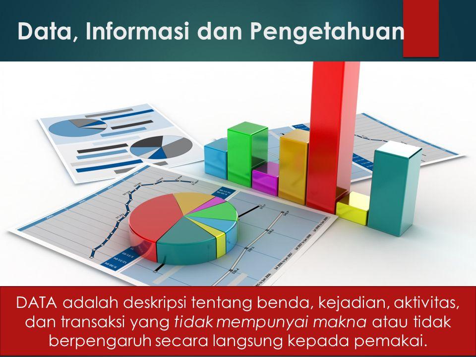 Data, Informasi dan Pengetahuan DATA adalah deskripsi tentang benda, kejadian, aktivitas, dan transaksi yang tidak mempunyai makna atau tidak berpengaruh secara langsung kepada pemakai.