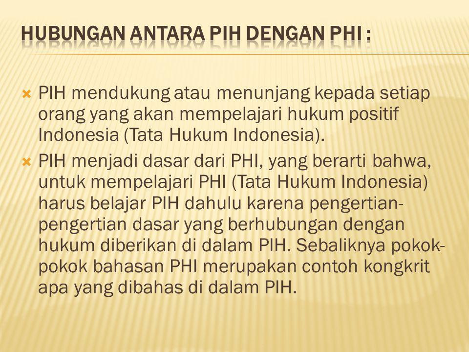  PIH mendukung atau menunjang kepada setiap orang yang akan mempelajari hukum positif Indonesia (Tata Hukum Indonesia).  PIH menjadi dasar dari PHI,