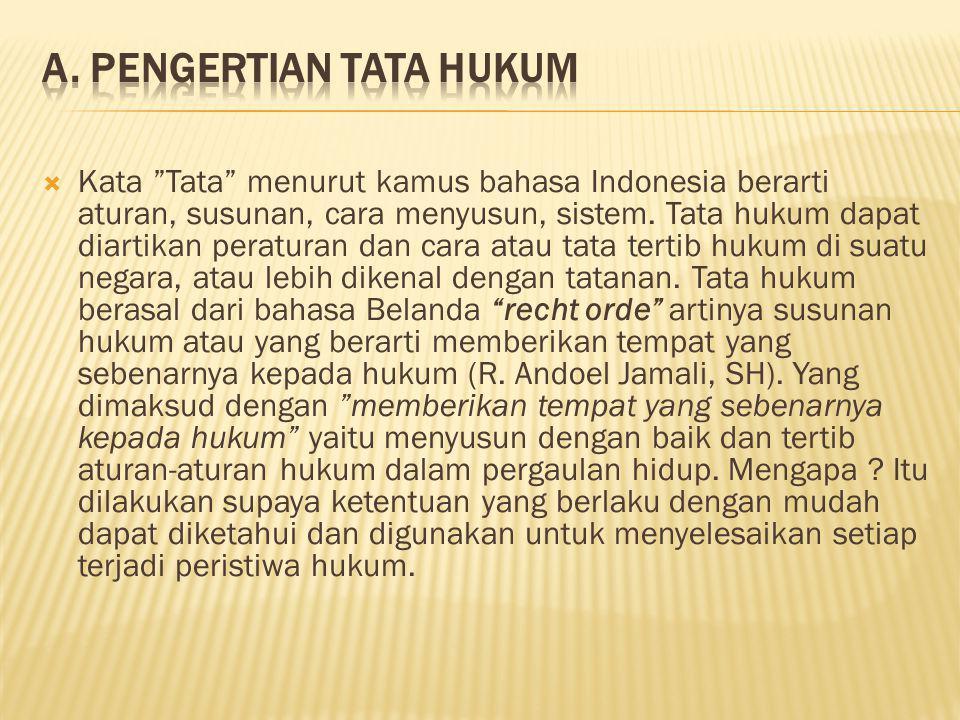""" Kata """"Tata"""" menurut kamus bahasa Indonesia berarti aturan, susunan, cara menyusun, sistem. Tata hukum dapat diartikan peraturan dan cara atau tata t"""