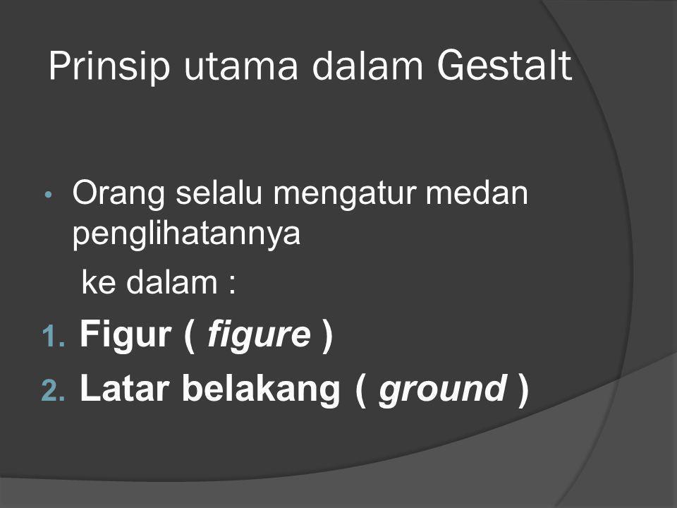 Prinsip utama dalam Gestalt Orang selalu mengatur medan penglihatannya ke dalam : 1. Figur ( figure ) 2. Latar belakang ( ground )