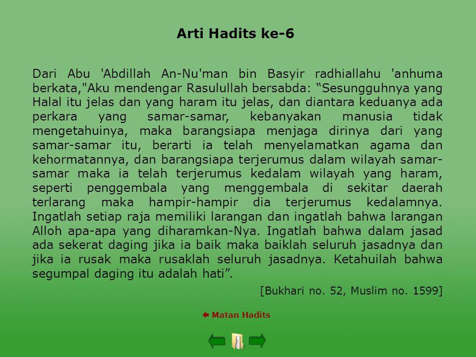 Arti Hadits ke-6  Matan Hadits Dari Abu 'Abdillah An-Nu'man bin Basyir radhiallahu 'anhuma berkata,