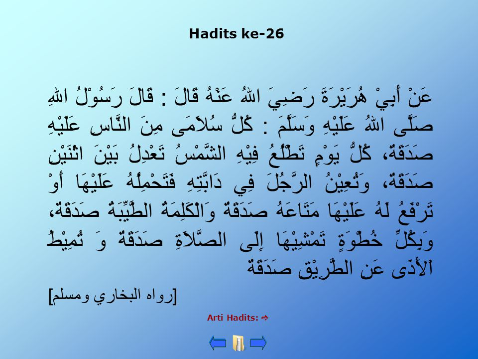 Hadits ke-26 Arti Hadits:  عَنْ أَبِيْ هُرَيْرَةَ رَضِيَ اللهُ عَنْهُ قَالَ : قَالَ رَسُوْلُ اللهِ صَلَّى اللهُ عَلَيْهِ وَسَلَّمَ : كُلُّ سُلاَمَى م