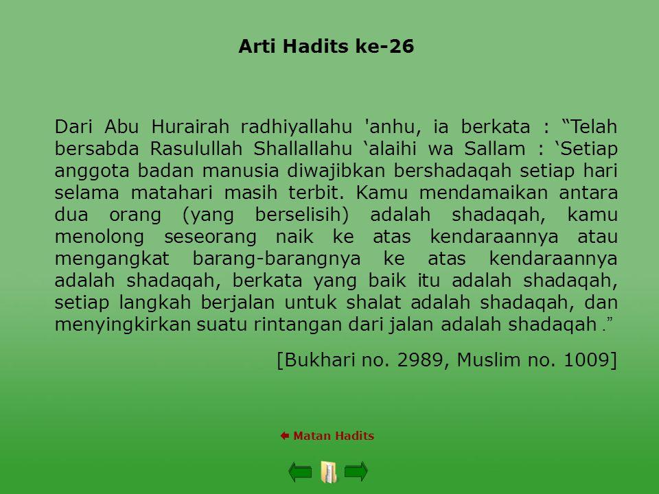 "Arti Hadits ke-26  Matan Hadits Dari Abu Hurairah radhiyallahu 'anhu, ia berkata : ""Telah bersabda Rasulullah Shallallahu 'alaihi wa Sallam : 'Setiap"