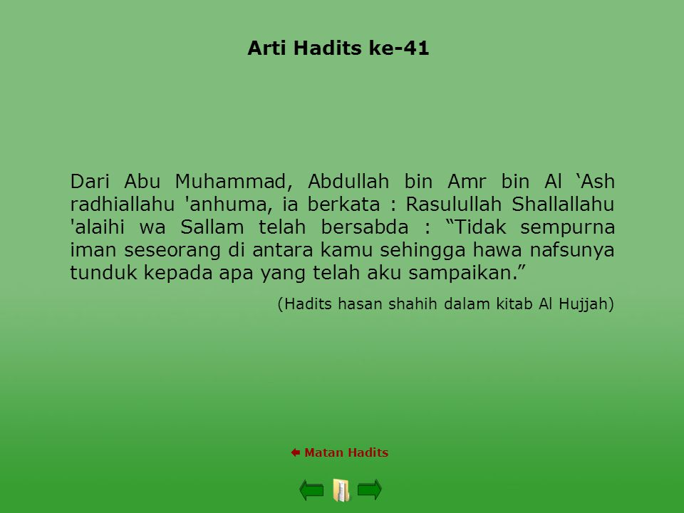 Arti Hadits ke-41  Matan Hadits Dari Abu Muhammad, Abdullah bin Amr bin Al 'Ash radhiallahu 'anhuma, ia berkata : Rasulullah Shallallahu 'alaihi wa S