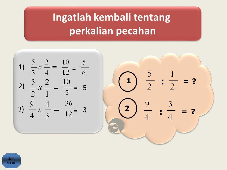 Ingatlah kembali tentang perkalian pecahan Ingatlah kembali tentang perkalian pecahan 1) = 2) =5 3) = 3 1 : =.