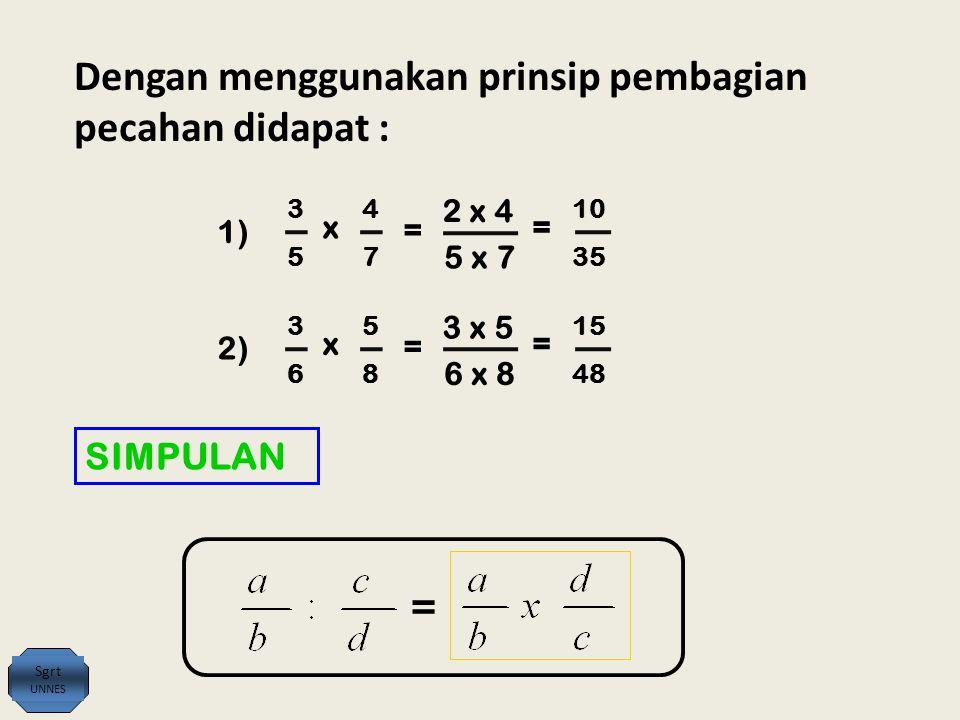 SIMPULAN = Sgrt UNNES Dengan menggunakan prinsip pembagian pecahan didapat : 3 5 1) x 4 7 = 2 x 4 5 x 7 = 10 35 3 6 2)2) x 5 8 = 3 x 5 6 x 8 = 15 48