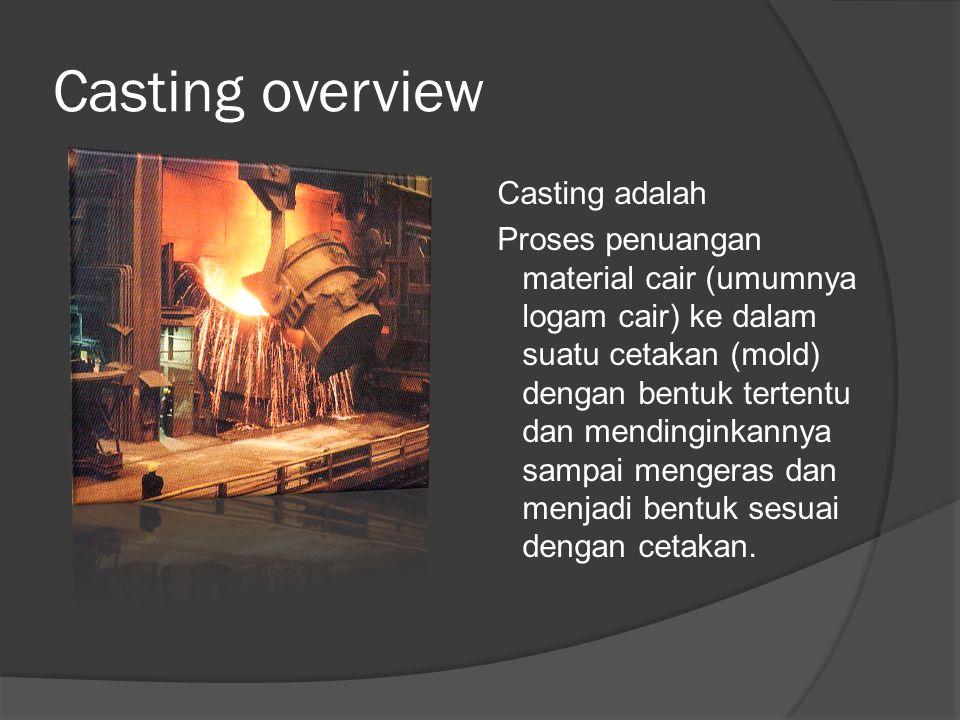 Casting overview Casting adalah Proses penuangan material cair (umumnya logam cair) ke dalam suatu cetakan (mold) dengan bentuk tertentu dan mendinginkannya sampai mengeras dan menjadi bentuk sesuai dengan cetakan.