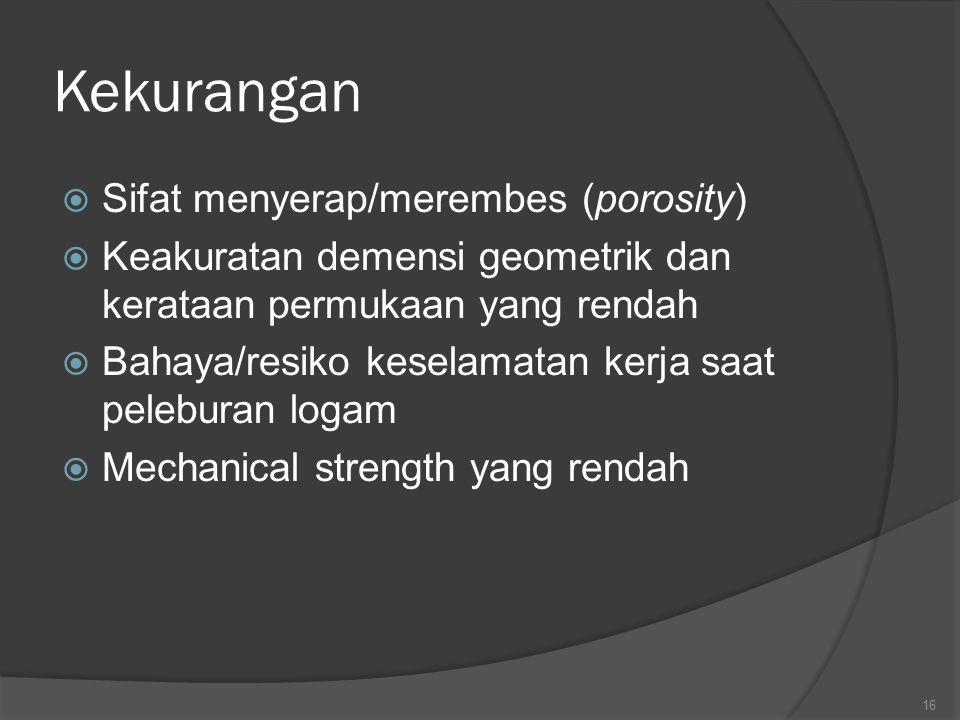 16 Kekurangan  Sifat menyerap/merembes (porosity)  Keakuratan demensi geometrik dan kerataan permukaan yang rendah  Bahaya/resiko keselamatan kerja saat peleburan logam  Mechanical strength yang rendah