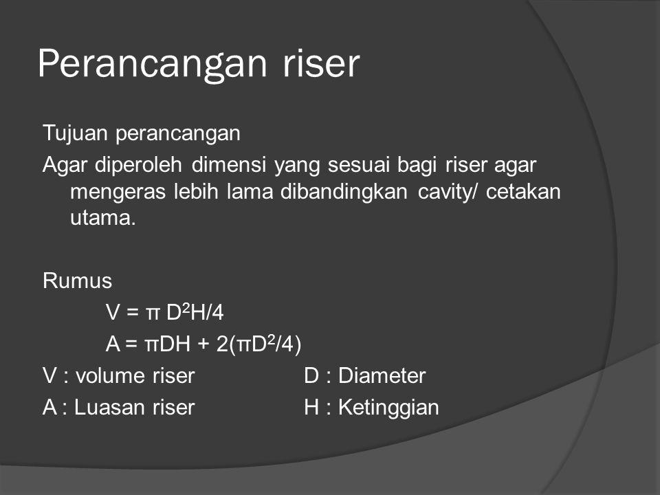 Perancangan riser Tujuan perancangan Agar diperoleh dimensi yang sesuai bagi riser agar mengeras lebih lama dibandingkan cavity/ cetakan utama.