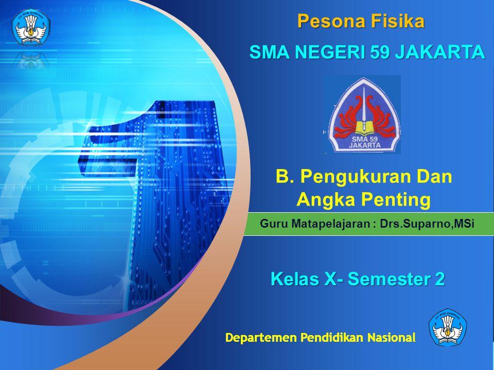 Departemen Pendidikan Nasional Guru Matapelajaran : Drs.Suparno,MSi Pesona Fisika SMA NEGERI 59 JAKARTA B. Pengukuran Dan Angka PentingKelas X- Semest