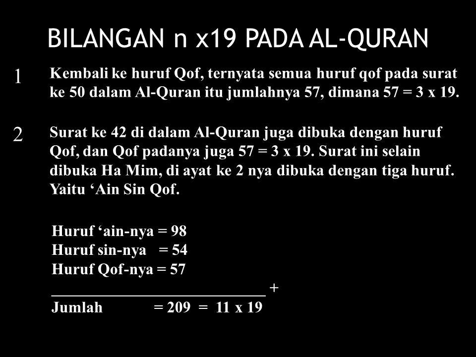 1 2 Kembali ke huruf Qof, ternyata semua huruf qof pada surat ke 50 dalam Al-Quran itu jumlahnya 57, dimana 57 = 3 x 19. Surat ke 42 di dalam Al-Quran